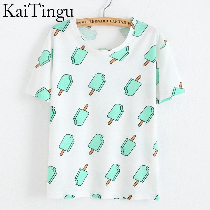 KaiTingu Brand 2016 New Fashion Vintage Summer Style Harajuku T Shirt Women Clothes Tops Emoji Funny Tee Shirts Ice Cream Print(China (Mainland))