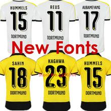 Soccer Jersey Borussia Dortmund 15 16 SAHIN HUMMELS REUS Borussia Dortmund 2016 BVB Dortmund 15/16 Yellow Black MKHITARYAN Shirt(China (Mainland))