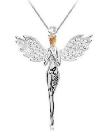 Charming necklace angel wing Pendant Necklace with full crystal jewelry for women multi colors LM-N017(China (Mainland))