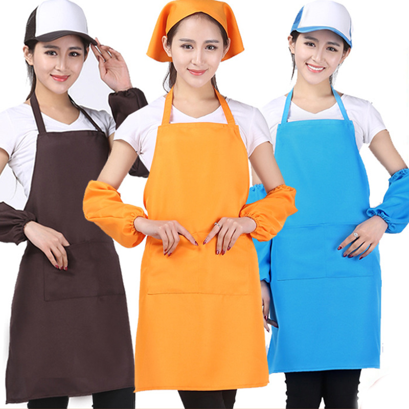Candy Colors Adjustable Apron Bib With Pocket For Housewife Home Cooking Salon Chefs Apron Uniform Restaurant Supply AJJ1054W-50(China (Mainland))