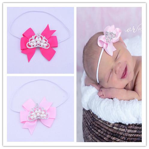 Princess Crown Tiara Pink Dainty Hair Bow HEADBAND White Band Fits Babies Toddlers Girls Small Petite Ribbon 2pcs/lot(China (Mainland))