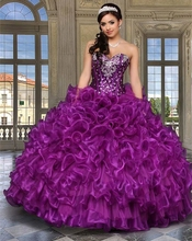 2016 New Red Gold Purple Cheap Quinceanera Dresses Ball Gown Crystals Organza Sweet 16 Dresses Vestidos De 15 Anos(China (Mainland))