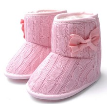 Toddler Knited Winter Faux Fleece Crib Snow Boots Kid Baby Shoes Bowknot Woolen Yam Fur Knit Shoes Firsst Walkers(China (Mainland))