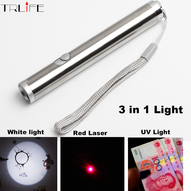 Mini Portable Aluminium Alloy LED UV/Red Laser/Lighting Flashlight Multifunctional LED Waterproof Powerful LED Flashlight Torch(China (Mainland))