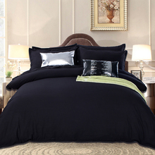 Black Bedding Set in King Queen Size Luxurious Silk Bed Set Duvet Cover Flat Bedsheets Tencel Cozy Bedroom Textile Jogo de Cama(China (Mainland))