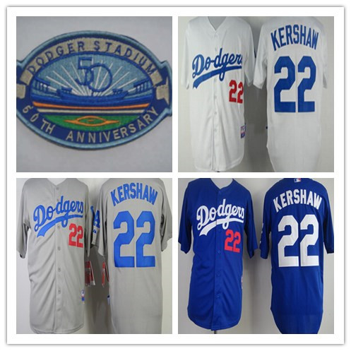 Los Angeles Dodgers Jersey #22 Clayton Kershaw Jersey White Blue LA Dodgers Baseball Jersey Cool Base W/50th Anniversary Patch