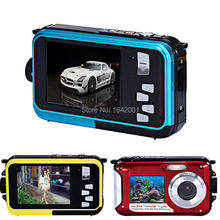 High Quality Waterproof 24MP Digital Camera Double Screens mini Camera  HD Camcorder w/ 1080P CMOS 16x Zoom(China (Mainland))