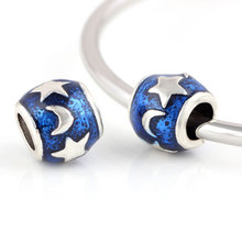 Buy 10 Pcs Lot Blue Sky Moon Star Beads DIY European Bead Lampwork Beads Alloy Charm Bead Fit Pandora Charms Bracelets for $2.84 in AliExpress store