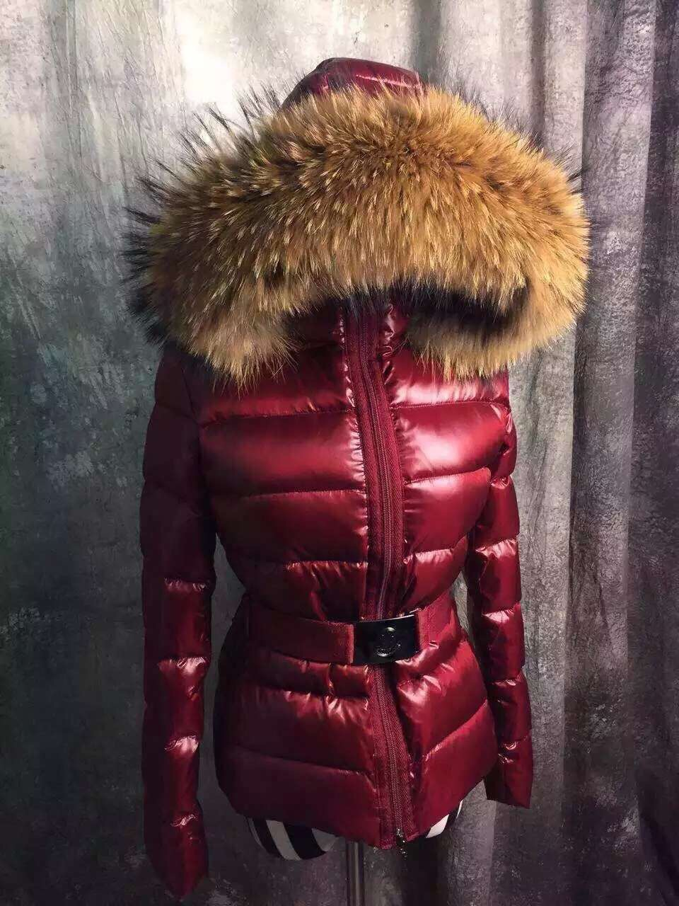 Woman winter white duck, coats,down jackets Black,100% real large raccoon, fur collar thick hooded parka duck red wine - Angel bing tribe store