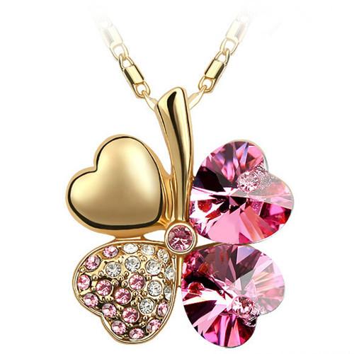 австрийских кристаллов ожерелья клевер & подвески 18k золото и серебро покрытием ювелирных изделий ожерелья для женщин 2016
