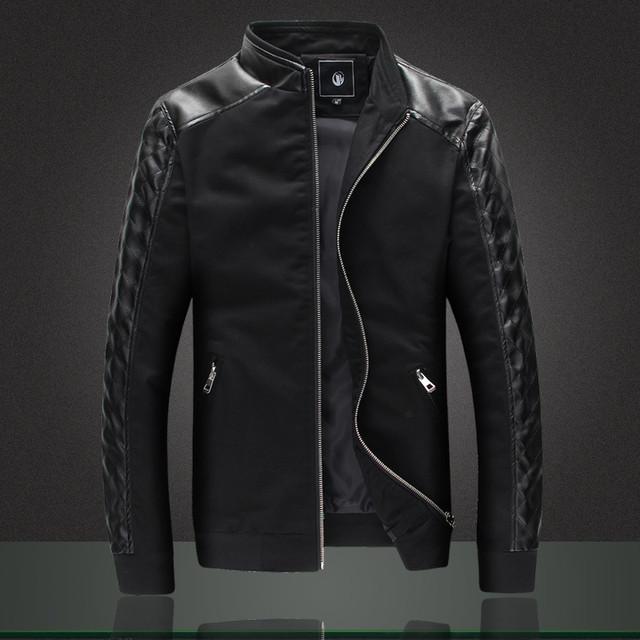 Men Jacket Fashion Slim Fit Spliced Cotton Pu Leather