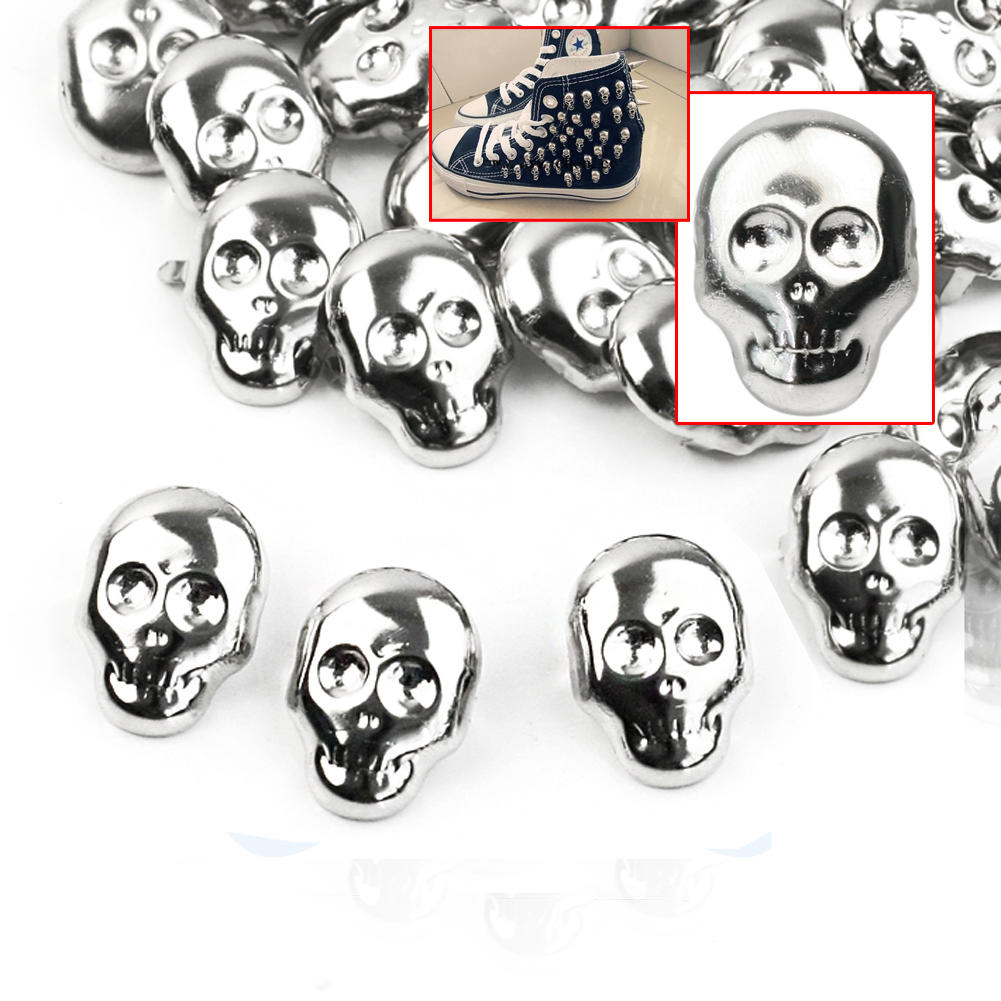 30pcs Skull Shape Spots Spikes Studs Alloy Punk Rock Design Leather Craft Shoes Clothes Bags Supplies 22x16mm(China (Mainland))