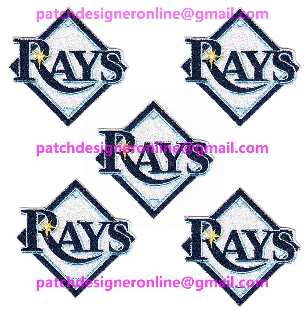 LOTS 5 PCS NEW BASEBALL Tampa Bay Rays Jersey Sports Iron On sew on Embroidered Patch Badge 3.4'' x 3.5''(China (Mainland))