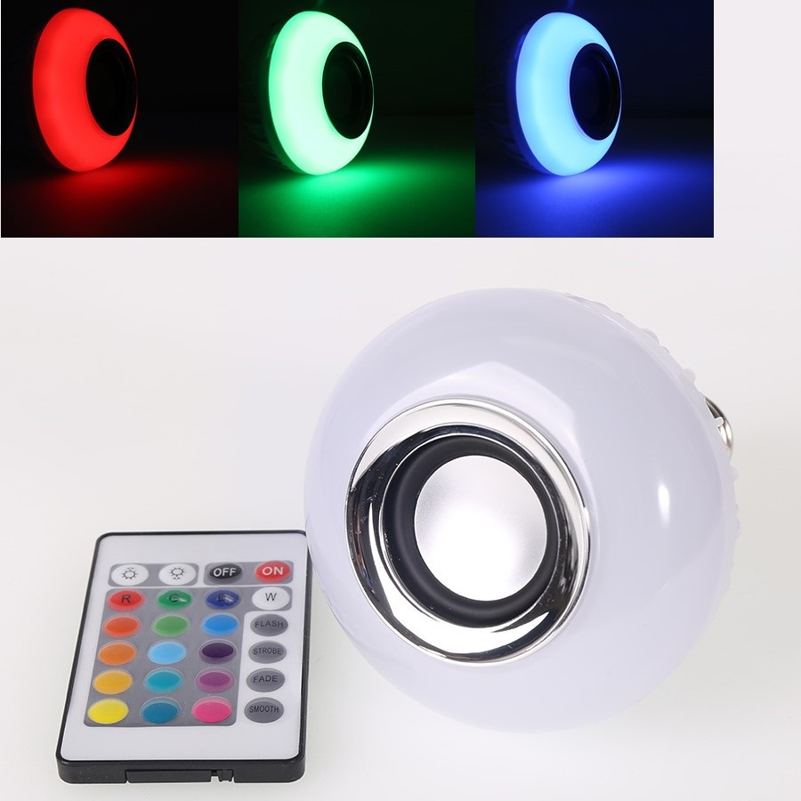 Wireless Bluetooth Remote Control Mini Smart Audio Speaker Bulb RGB Color Light Music E27 LED Lamp(China (Mainland))