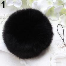 Macio Faux Rabbit Fur PomPom Keychain Bolsa Pingente Telefone Celular Encantos Anel Chave(China)