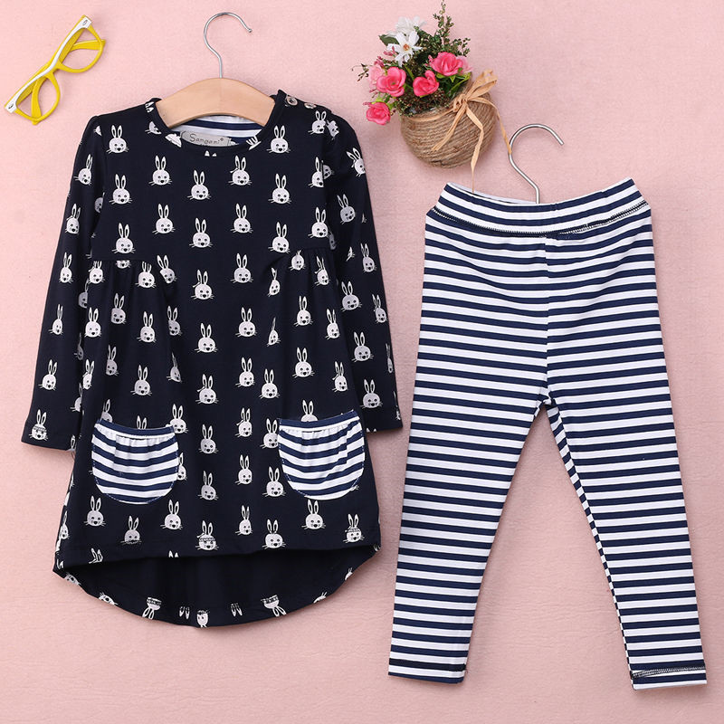 2016 Newest Kids Baby Girls Clothes Sets 2PCS Toddler Bunny Shirt Dress+Striped Leggings Sets Clothes Outfits(China (Mainland))