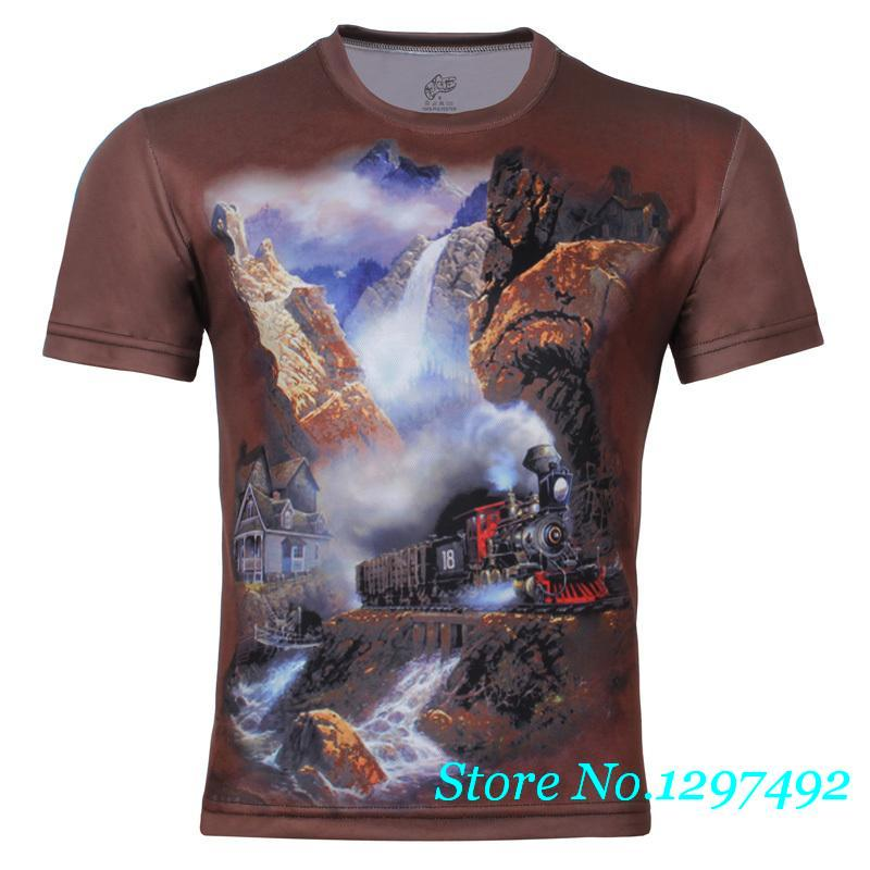 The new men's summer fashion personality 3D train crossing a mountain stream original large size men's short sleeve t-shirt(China (Mainland))