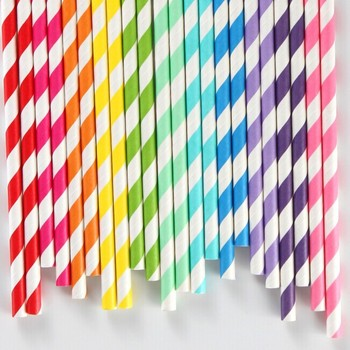 """235 Assorted Designs of 7.75""""  Party Drinking Paper Straws  Diamond Circle Striped chevron  Polka Dot wholesale"""