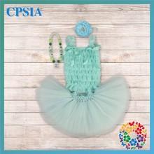 12 sets/lot 2014 Baby Vest Skirt Newborn Birthday Aqua Petti Lace Top And Pettiskirt Tutu Skirt(China (Mainland))