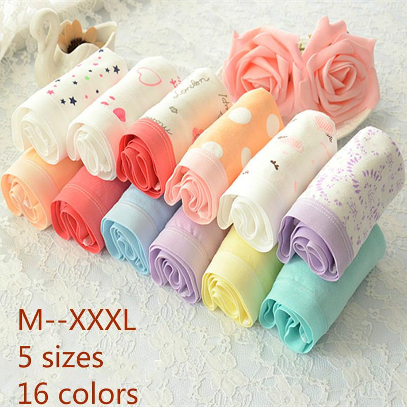 2016Hot Style Women Cotton Panties Floral Sexy Underwear Cute Candy Colored Pink Briefs Plus Size Briefs M L Xl Xxl Xxxl 16Color(China (Mainland))
