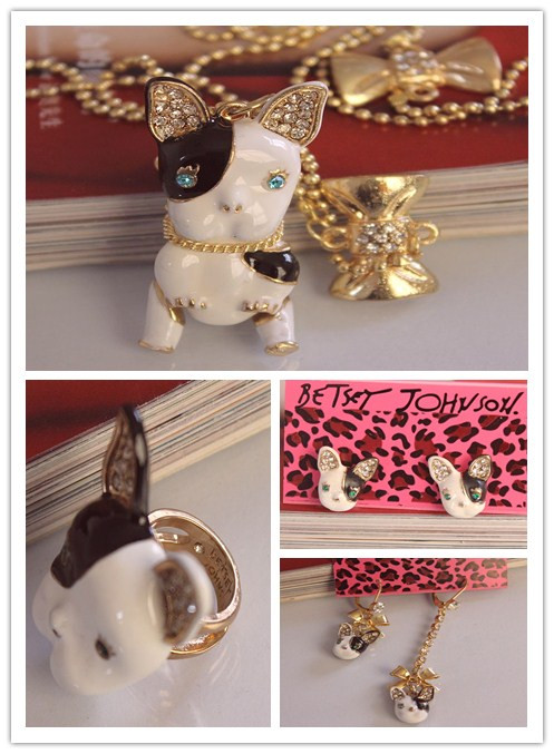 Dog Necklace And Earrings Ring Europe and America BJ Unique All-match Fashion Jewelry Sets For Women Christmas Gift(China (Mainland))