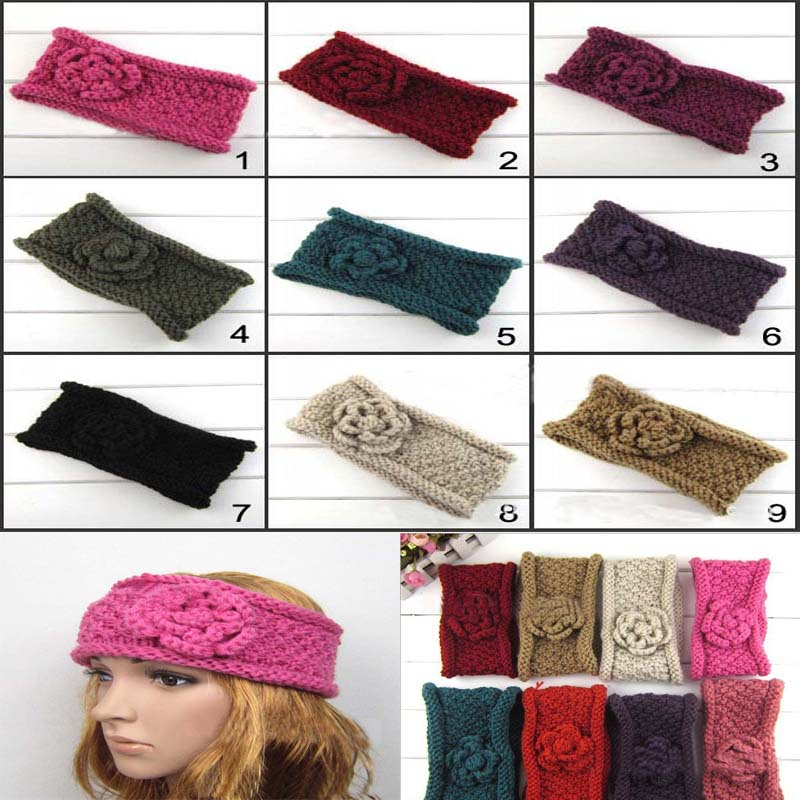 NEW Wholesale Double-deck Flower Women Crochet Headband Fashion Curly Rim Knitted Headwraps girl hair accessories 10 pcs/ lot(China (Mainland))