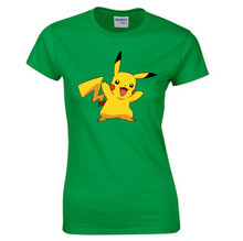 PikachuVictory T Shirt Women Summer Short Sleeve O-Neck Cotton Pokemon GO Tees Tops Female Color anime Casual T-Shirts