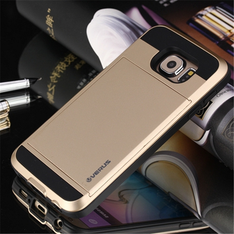 NEW VERUS V4 Card Slider Case with Card Storage case for samsung galaxy s6 G9200 slide card back cover case for galaxy s6 g9200(China (Mainland))