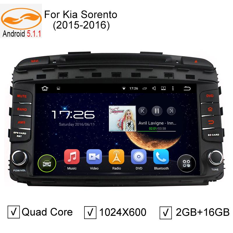 Android 5.1.1 Quad Core Car DVD Stereo GPS Navigation for Kia Sorento 2015 2016 Auto Radio RDS Bluetooth Wifi IPOD Audio(China (Mainland))
