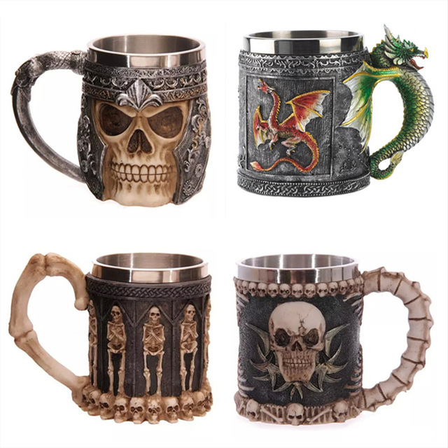 2016 New Cool Resin Stainless Steel Funny Coffee Mug 3D Skull Cup Pirate Knight Drinking Grip Creative Drinkware Hot Sale 17(China (Mainland))