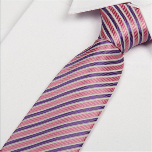 2016 new fashion pink and purple Striped tie cheap necktie wedding cravate for men 8cm(China (Mainland))