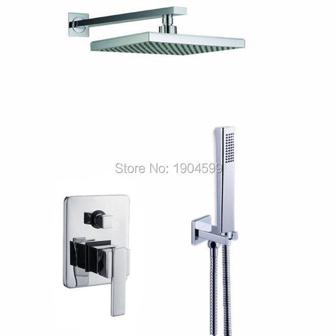 2017 Wholesale In Wall Built Simple 8 inch Bathroom Shower Sets with handshower Combination(China (Mainland))