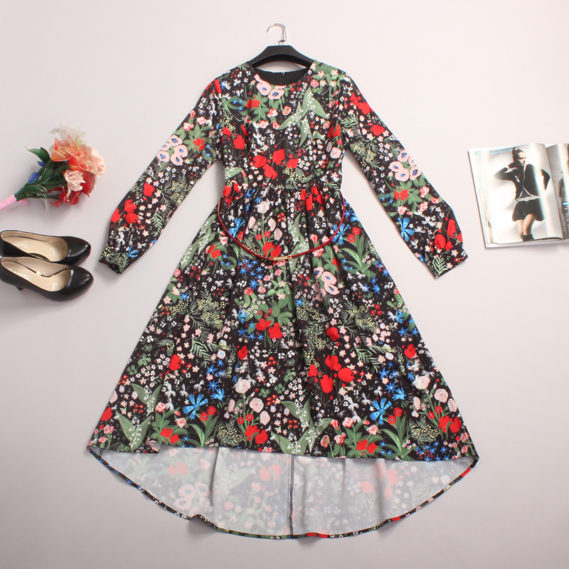 Autumn Causal Dress 2015 New Fashion Beautiful Flower Print Slim Dovetail Full Sleeve Holiday Dress with SashОдежда и ак�е��уары<br><br><br>Aliexpress