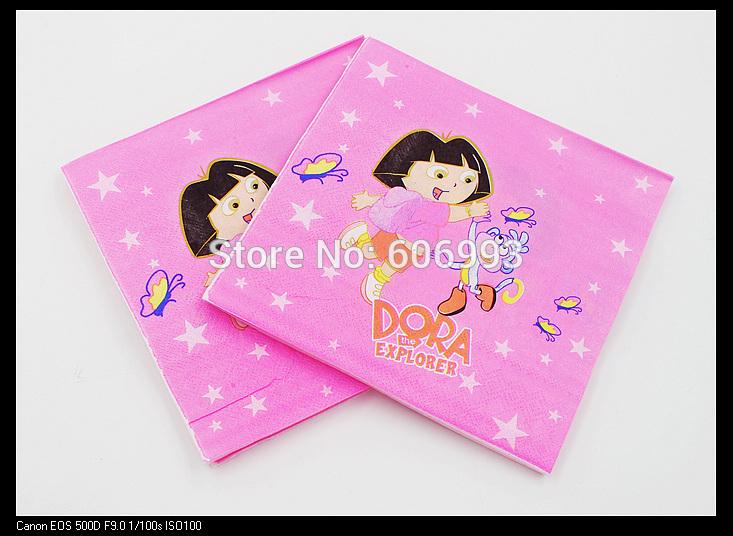 [RainLoong] Dora The Explorer Paper Napkin Festive & Party Supplies Tissue Napkin Supply Party 33cm*33cm 20pcs/pack/lot(China (Mainland))