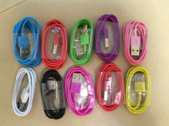 Colorful 1M TPE Wire 8Pin USB Charging Charger Data Sync Adapter Cable Cords For iPhone 5 5s 6 6Plus Perfect Suit for IOS 8.0(China (Mainland))