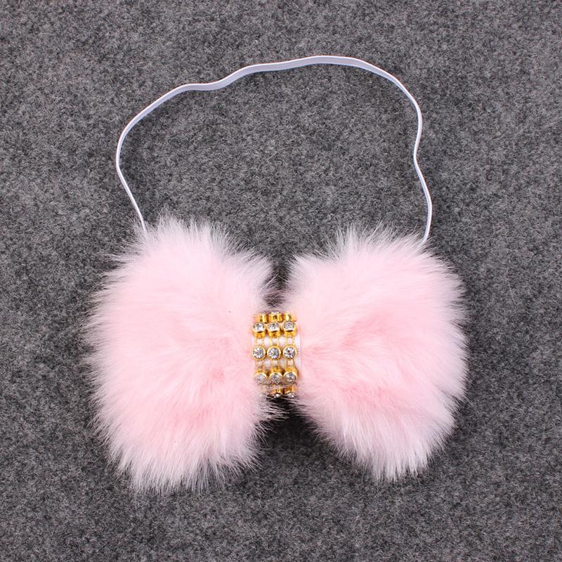 1Pc Newborn Baby Girl Boy Rabbit Rhinestone Bowknot faux fur Headband Hair Accessories(China (Mainland))