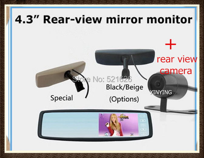 "Factory selling, 4.3"" TFT-LCD Special Rear View Mirror Car Monitor with Bracket+ HD colorful rear view camera , Free shipping(China (Mainland))"