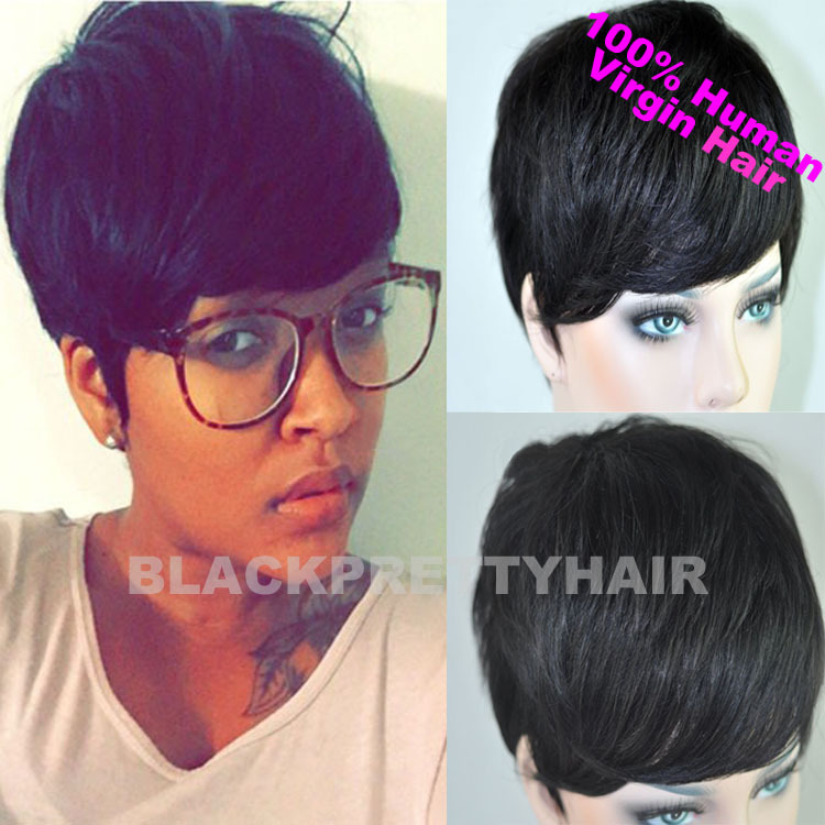 ... Black Women Human Black Hair Short Cut Wigs-in Blended Hair Wigs from