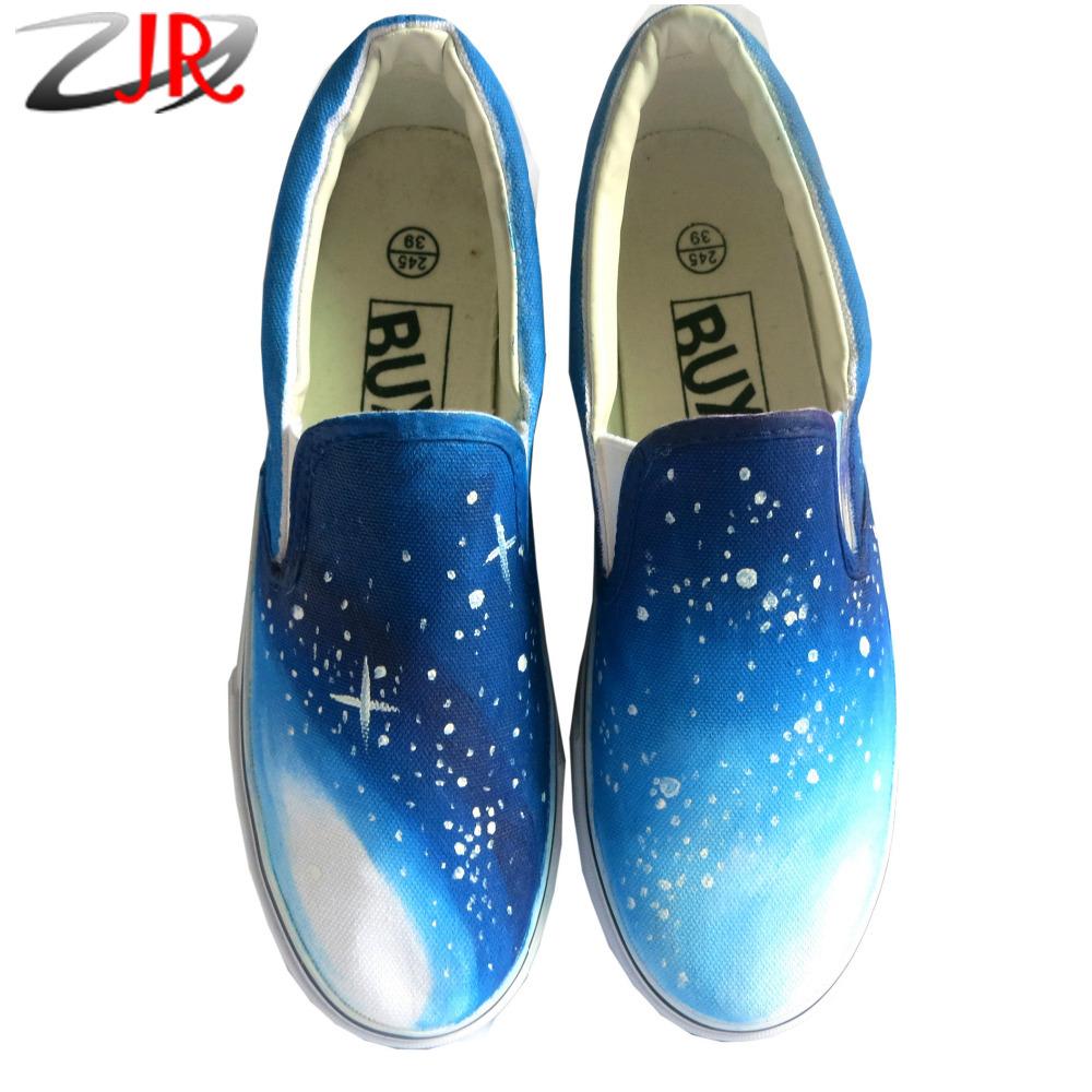 Harajuku Gradient Star Galaxy Hand Painted Low Slip-On Unisex Canvas Shoes Women Men Flat Shoe(China (Mainland))