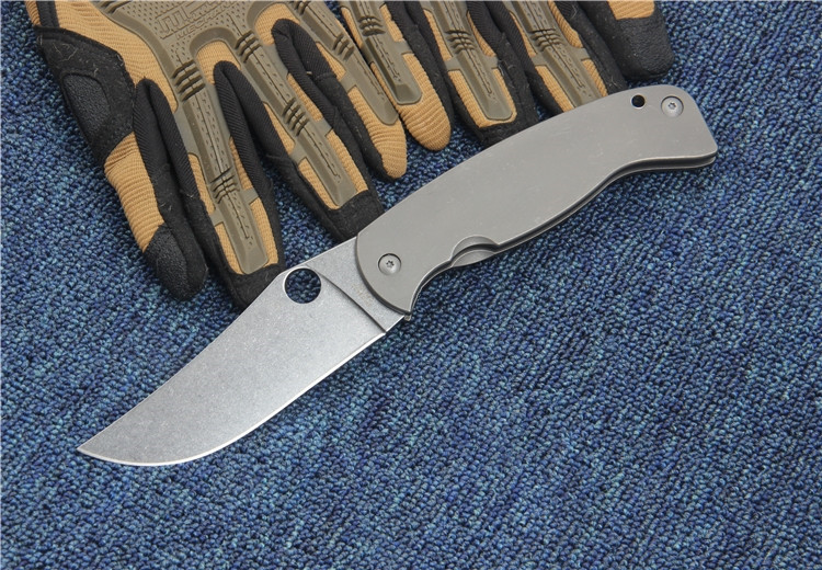 Buy Folding Pocket knife new SPY CPM-10 blade Titanium handle outdoor camping utility EDC knife hand tool Tactical survival knife cheap