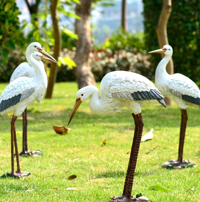 Crane Pond House crafts garden pond rockery simulation small ornaments resin egret(China (Mainland))