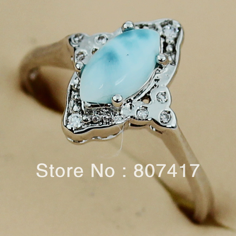 Fashion Larimar and white Cubic Zirconia jewelry Silver Plated Favourite Hot Romantic Punk Promotion RING R3526 sporty sz#6 7 8(China (Mainland))