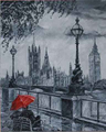 Top Hand Painted Abstract Streetscape Oil Painting on Canvas the Couple with Red Umbrella Sit Around