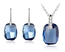Deep Blue Crystal Necklace Earrings Set Made With Swarovski Elements Women Wedding Jewelry Sets Lady Party Banquet Accessories