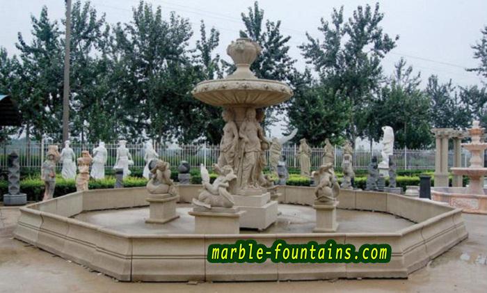 piedra natural fuentes de los angeles beige mano de mrmol tallada grande fuente exterior estatuas con opcional estanque de agua