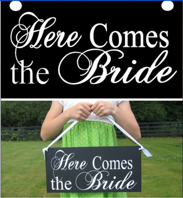 """Vintage Shabby Chic Wedding Sign """"Here Comes the Bride"""", Flower Girl signs, paper photobooth props for weeding bride decoration(China (Mainland))"""