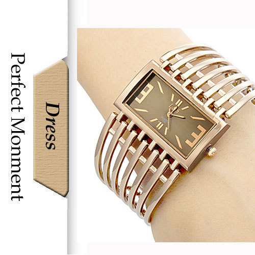 Women Dress Watches Hollow Gold Steel Band Square Dial Bracelet Fashion Luxury Watch Quartz Movement - Perfect Monment Company Limited store