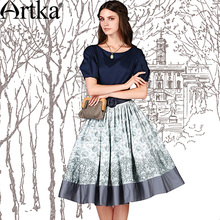Artka Women's Vintage Floral Skirts Wide Hem Design Fashion Knee-Length Skirt Good Quality Spring Autumn Lady Clothing QA10059C