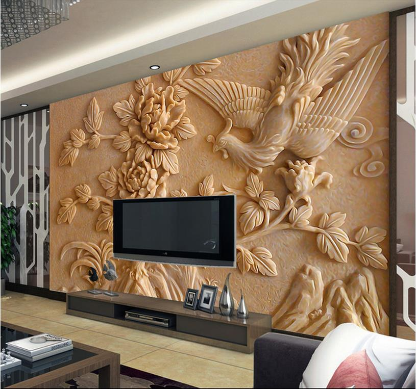 Europea 3d wall murals wallpaper photo relief phoenix and for Wallpaper decor