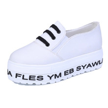 New Fashion Black Letter Print Low Top Lady Sneakers For Women Brand Lace Up Canvas Platform